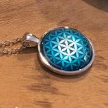 """Collier """"Fleur de Vie""""  bleue turquoise - 2,5 cm"""