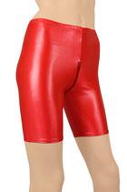 Damen Wetlook Radlerhose mit Schritt-RV rot