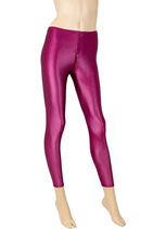 Damen Wetlook Leggings mit Schritt-RV bordeaux