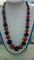 Perlenkette Lava & Koralle * konisch