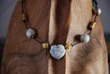Hundekette Howlith - weiss & goldfarben