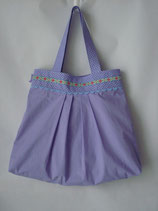 Tasche mit Fältchen lila/ lila Pünktchen und Retroblumen