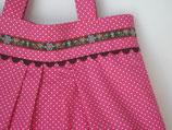Tasche mit Fältchen pink mit Pünktchen