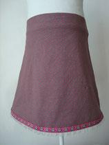 Jersey-Jupe Pünktchen pink auf grau mit Eulen