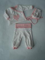 Baby-Set weiss/rosa getupft