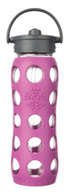 LIFEFACTORY GLASS BOTTLE - 650ml  STRAW CAP / PINK