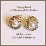 Kit Soutache Button Earrings Metal Light Gold