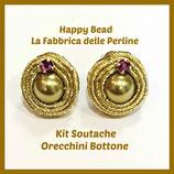 Kit Soutache Button Earrings Metal Green Gold