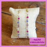 Kit Long Earrings with Bicones Swarovski Pink