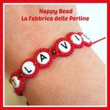 Kit Macramé BASE Letter Bracelet Red
