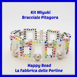 Miyuki Kit for PItagora Bracelet  White / Rainbow /Gunmetal