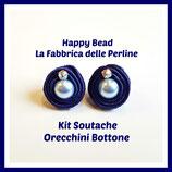 Kit Soutache Button Earrings Blue