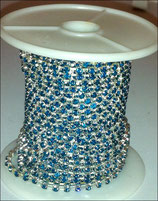 Catena Strass 2mm Turchese base Argentata 1/2 metro