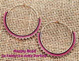 Kit Gypsy Earrings  Brick Stitch Basic Fucsia Gold Brown