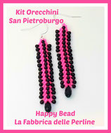 Kit OrecchiniPunto San Pietroburgo Doppio Versione Piccola Rosa Neon / Nero