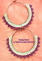 Kit Gypsy Earrings  Brick Stitch Basic Purple Beige Light Green