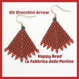 Kit Arrow Earrings Peyote and Herringbone Stitch  Base Dark Green Burnt Orange Dark Red