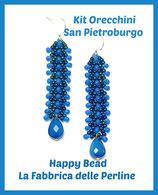Kit Orecchini Punto San Pietroburgo Doppio Versione Grande Blu / Azzurro