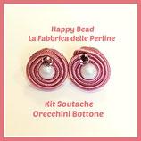 Kit Soutache Button Earrings Antique Pink
