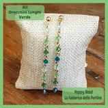 Kit Long Earrings with Bicones Swarovski Green