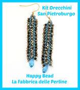 Miyuki Kit Double Saint Petersburg Earrings Small Version Light Blue / Gold