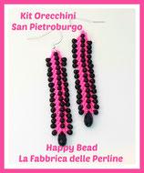 Miyuki Kit for Double Saint Petersburg Earrings Small Version Neon Pink / Black