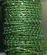 Catena Strass 2mm Peridot base Argentata 1/2 metro