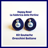 Kit Soutache Orecchini Bottone Blu
