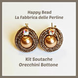Kit Soutache Orecchini Bottone Bronzo Metal