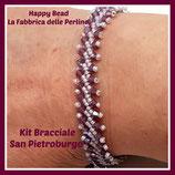 Kit Saint Petersburg Bracelet Stitch  Basic Small Version Grey / Cyclamen Opal