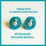 Kit Soutache Button Earrings Turquoise