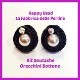 Kit Soutache Button Earrings Metal Black