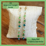 Kit Orecchini Lunghi Biconi Swarovski Verde