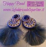 Kit Soutache Orecchini Moulin Rouge colore Azzurro Crema