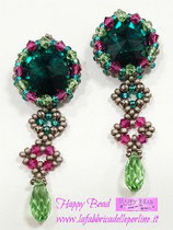 KIT Orecchini Gloria Colore Verde Smeraldo / Fucsia