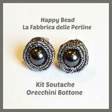 Kit Soutache Button Earrings Metal Grey