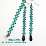 Kit Earrings and Bracelets RAW Basic Turquoise Gunmetal