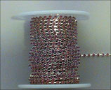 Catena Strass 2mm Rosa Light Rose base Argentata 1/2 metro