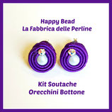 Kit Soutache Button Earrings Purple
