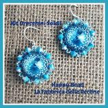 Kit Soleil Earrings Circular Peyote Stitch  Base Aquamarine
