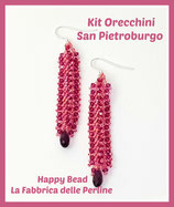 Miyuki Kit Double Saint Petersburg Earrings Small Version Hot Pink / Coral