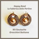 Kit Soutache Button Earrings Metal Bronze