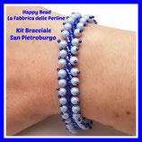 Kit Bracciale Punto San Pietroburgo Base Versione Grande Blu / Dreamy Blue