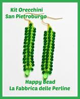 Miyuki Kit Double Saint Petersburg Earrings Small Version Lime /Dark Green