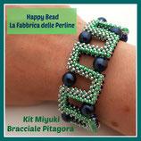 Miyuki Kit for PItagora Bracelet  Green Metal / Blu China / Acqua Green