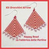 Kit Arrow Earrings Peyote and Herringbone Stitch  Base Fucsia Peach Light Pink