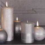 Metall-Kerze rustikal in silber