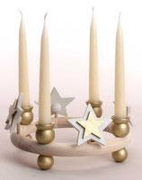 1 Stern weiß/gold für großen Kerzenring