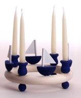 1 Segelboot, dunkelblau für großen Kerzenring
