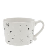 "Bastion Collections Tasse ""HEARTS ALL OVER"" Grau/ Schwarz"
